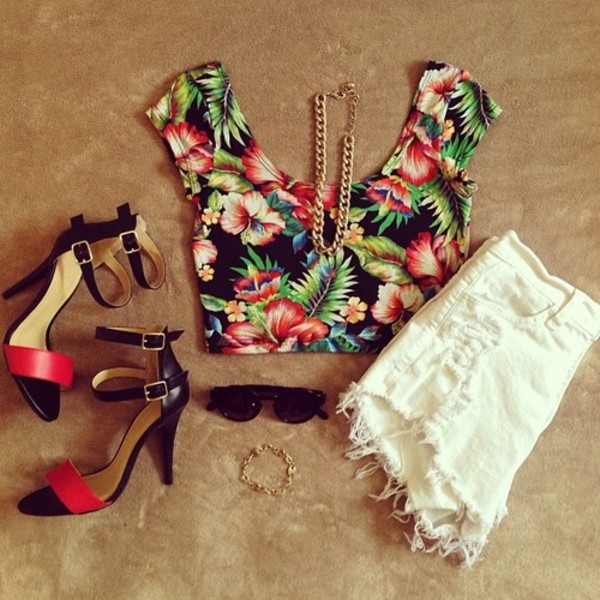 shirt t-shirt tropical floral cut offs swag urban street hipster half shirt blouse cute summer chain tropical shirt High waisted shorts tank top top shorts shoes sunglasses jewelry crop tops white crop tops flowers High waisted shorts heels outfit day and evening high heels t-shirt