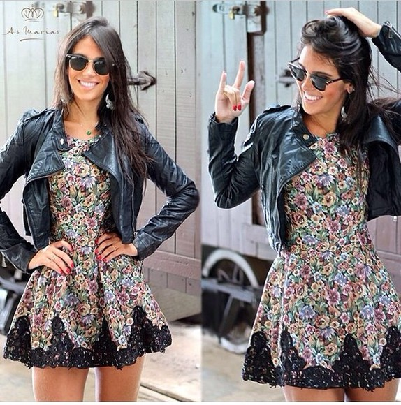 jacket dress black sunglasses style summer dress dress, vintage, floral, summer, mint, indie, hippie, hipster,