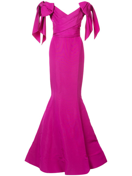 gown long women silk purple pink dress