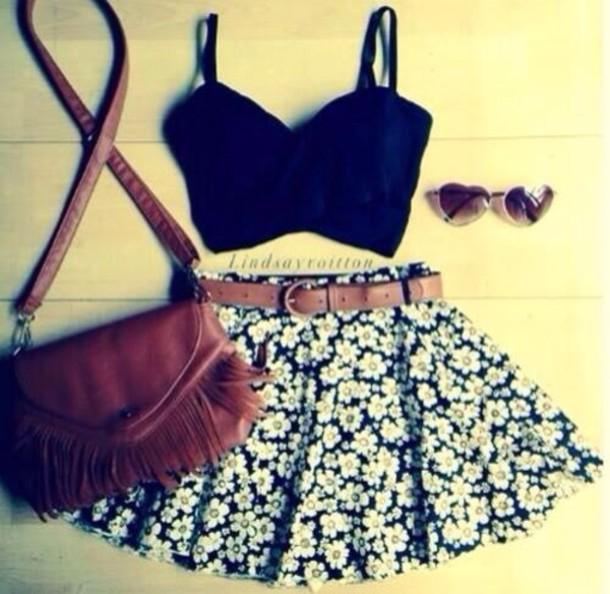 skirt sunglasses belt bag tank top