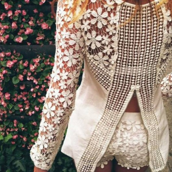 shirt blouse crochet flowers ootd look of the day fashion blogger blogger style blogger