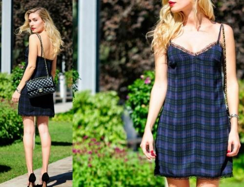 BNWT ZARA DARK GREEN CHECKED TARTAN LINGERIE STYLE LACE DRESS Size S
