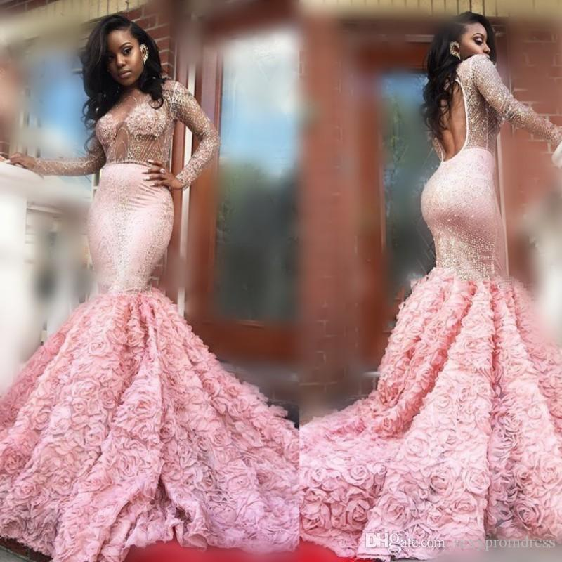 de09ccd14c Gorgeous 2k17 Pink Long Sleeve Prom Dresses Sexy See Through Long Sleeves  Open Back Mermaid Evening ...