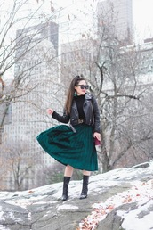 gracefullee made,blogger,skirt,top,shoes,jacket,belt,jewels,bag,make-up,sunglasses,black leather jacket,green skirt,pleated skirt,gucci belt,boots,winter outfits