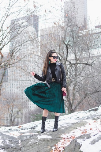 gracefullee made blogger skirt top shoes jacket belt jewels bag make-up sunglasses black leather jacket green skirt pleated skirt gucci belt boots winter outfits