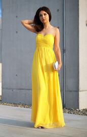 a piece of anna,dress,yellow,prom dress,maxi dress,white clutch