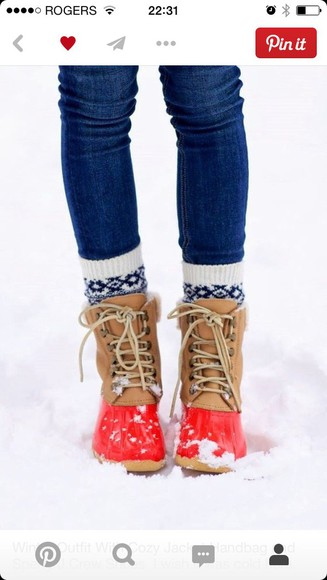 red shoes red boots winter boots