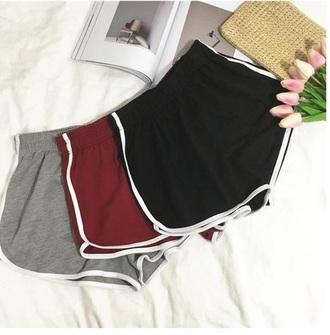 shorts girly red black grey