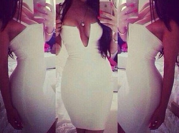 dress white bodycon dress white dress deep v dress deep v neck dress sexy dress