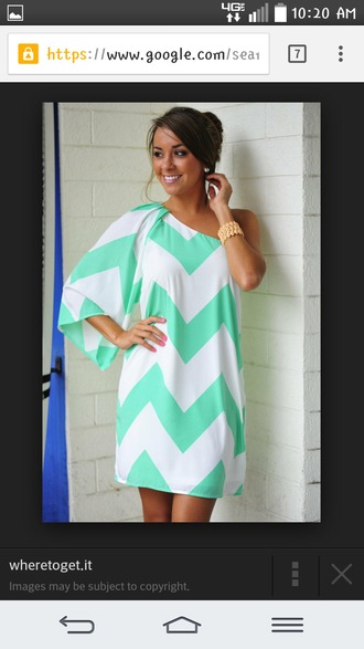 dress mint wild wide one shoulder chrevron dress