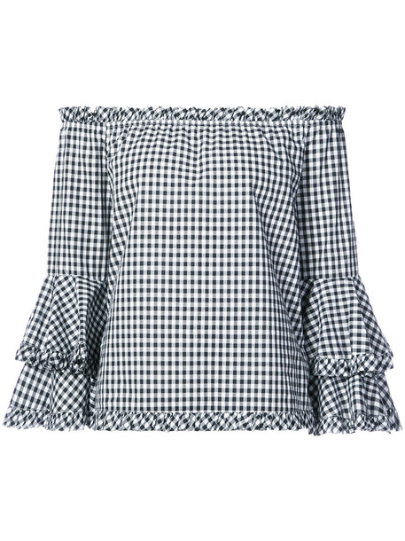 Caroline Constas top women cotton print black gingham