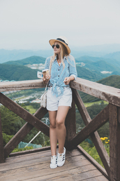 my blonde gal,blogger,shirt,bag,shoes,white shorts,blue top,button up,shoulder bag,straw hat,adidas,white sneakers,romwe,mango,alice+olivia,adidas superstars,stripes,striped shirt,blue shirt,adidas shoes