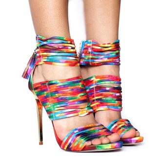 shoes heels rainbow multicolor heels multicolor shoes strappy strappy heels strappy shoes multicolor