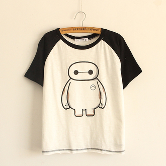t-shirt cartoon top white cute fashion style black robot casual summer back to school teenagers
