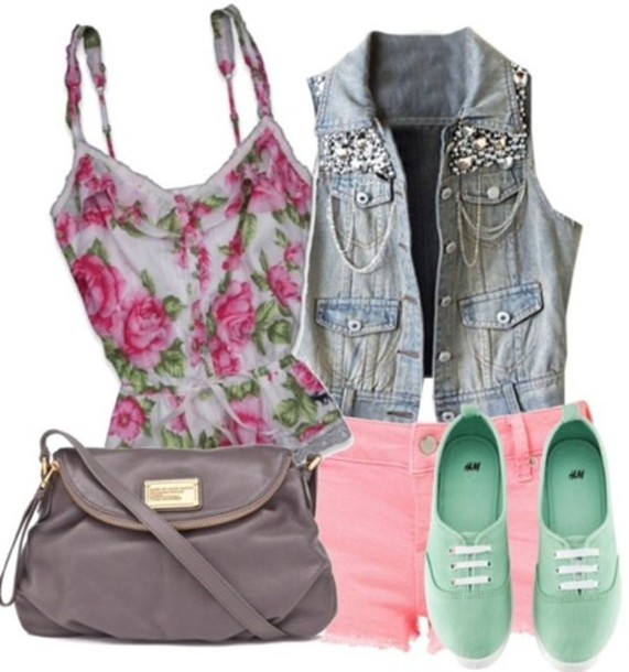 7ab491903f969d shoes floral t shirt denim shorts pink vans mint bag spring outfits summer  outfits jacket