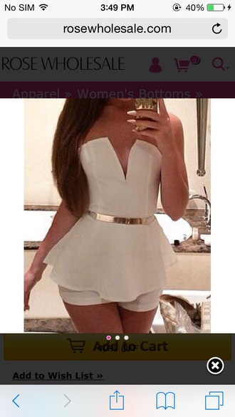 romper white cute white romper summer romper cute outfits style summer summer outfits summer accessories v neck plunge v neck plunge neckline off the shoulder sleeveless accessories accessory belt waist belt belts gold pretty a pretty pass girl girly wishlist beautiful nails peplum trendy outfit date outfit long hair