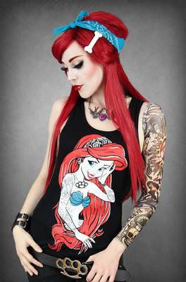 Restyle tattoo rebel little mermaid ariel punk black sleeveless tank vest top