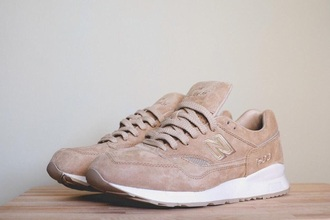 shoes corduroy new balance nude sneakers nude sneakers