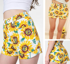 NEW Lady Sunflower Print Denim High Waist Shorts Cotton Floral Pant Free Ship | eBay