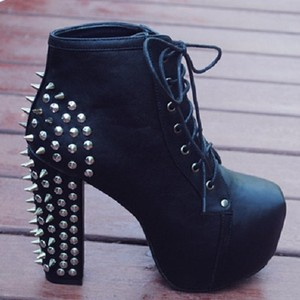 Women spike studded rivets platform thick high heels lace ups ankle boots shoes