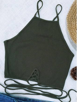 top olive green crop tops crop cropped lace up