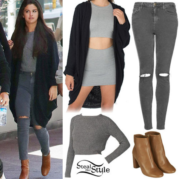 sweater grey jeans selena gomez jeans blouse shoes