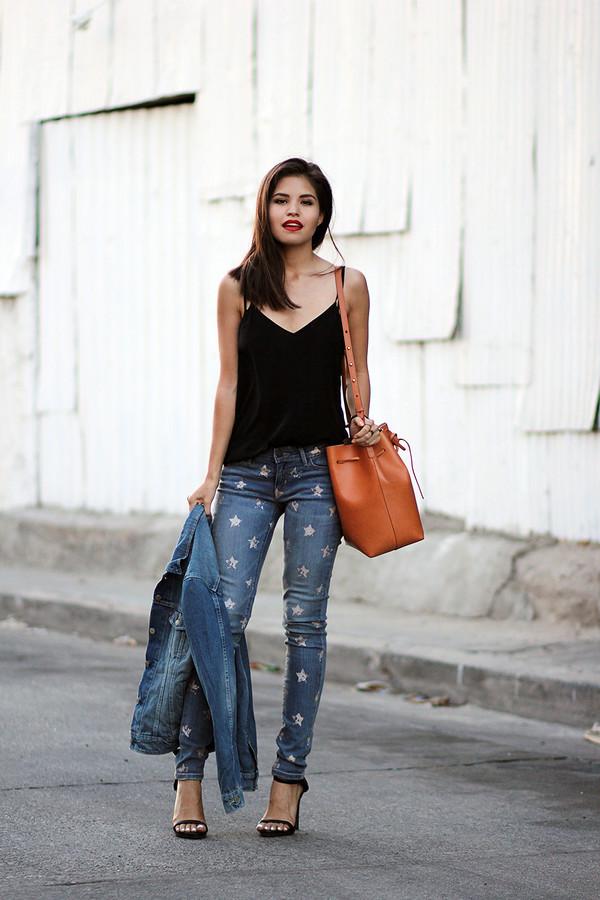 fake leather blogger jeans jacket bag shoes jewels