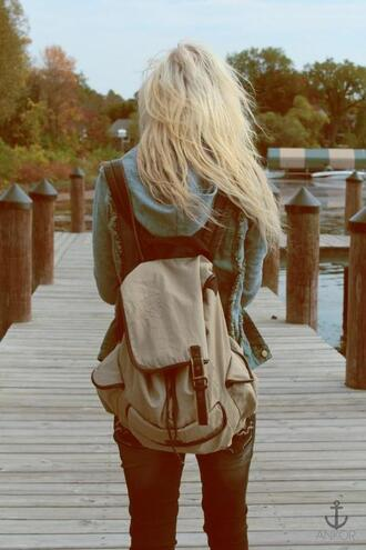 bag blond hair white backpack canvas straps buckles buckle