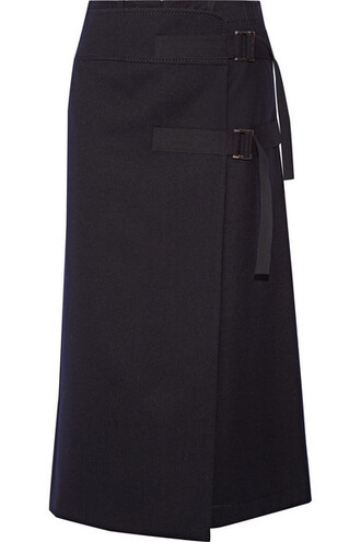 skirt wrap skirt navy wool