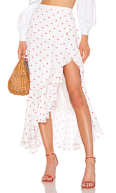 LPA Renzo Skirt in White & Red Dot from Revolve.com