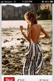 dress,backless dress,maxi dress,striped dress,white and navy,maxi,long dress.
