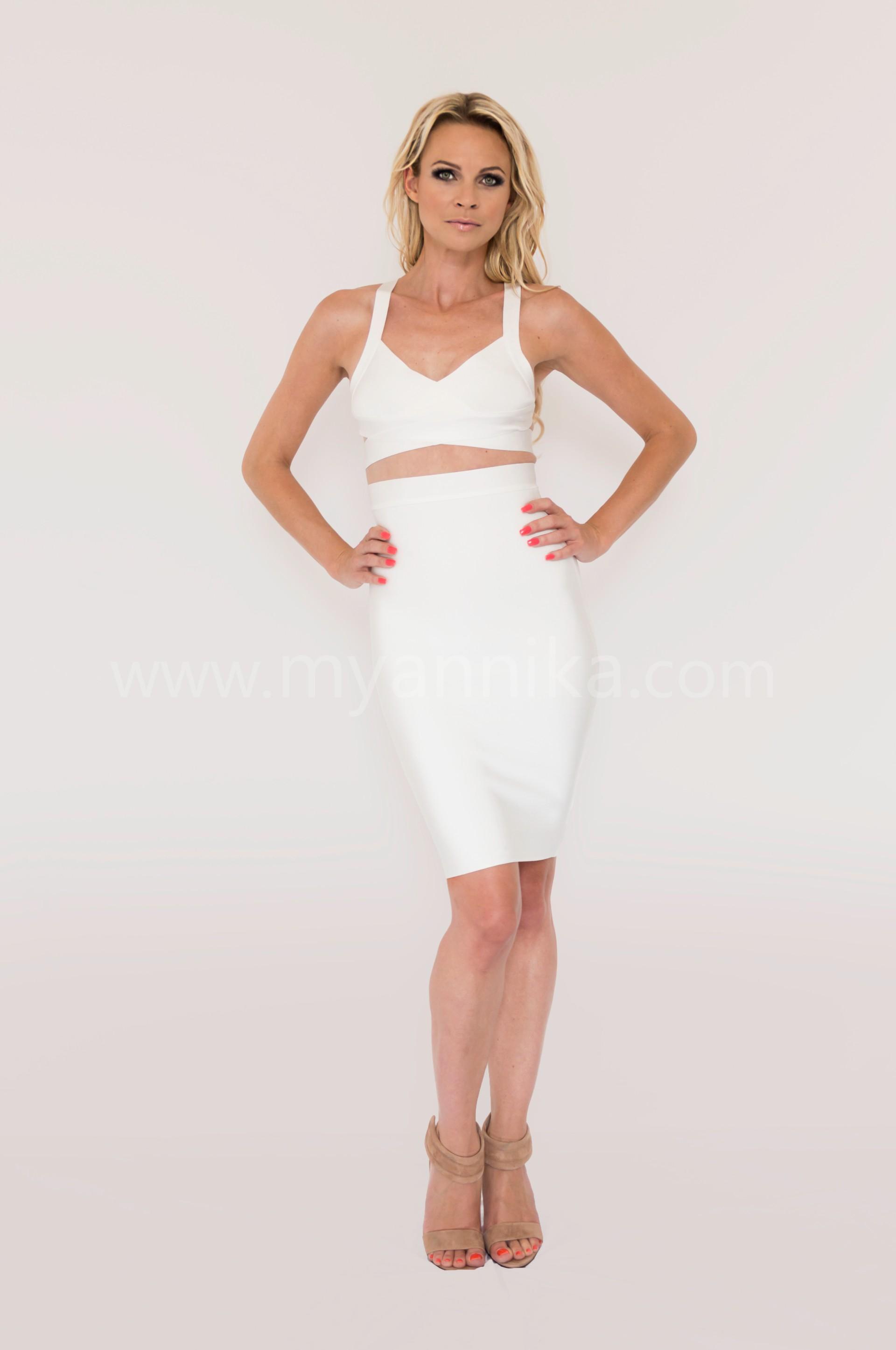 Malibu - White 2 Piece Celebrity Style Bandage Dress Combo with Pencil Skirt and Crop Top Annika - Bandage Dresses | Celebrity Party Dresses | Herve Leger Dresses Bandage dress detail