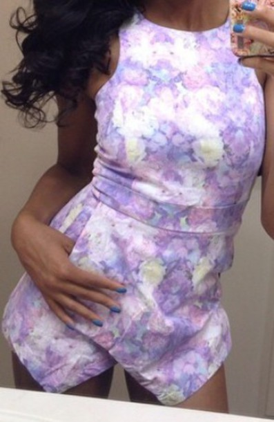 jumpsuit romper lavender one piece skorts skort playsuit purple romper dress purple dress