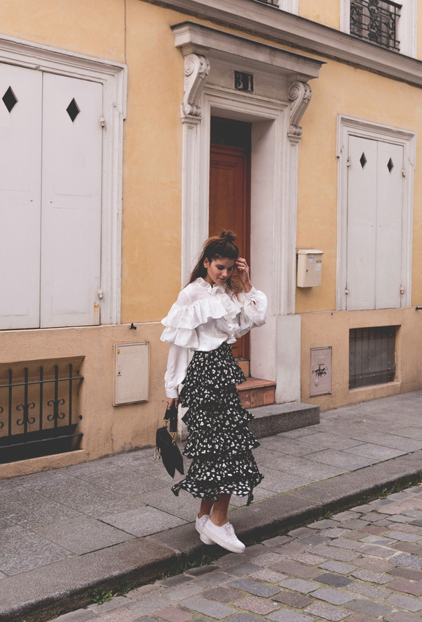 the fashion fraction blogger blouse skirt shoes bag ruffle white blouse ruffle skirt ruffle blouse sneakers spring outfits