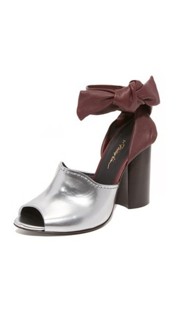 3.1 Phillip Lim Kyoto Ankle Bow Sandals - Silver/Malbec