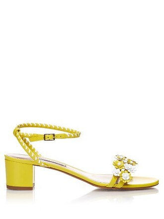 daisy embellished sandals leather sandals leather white yellow shoes