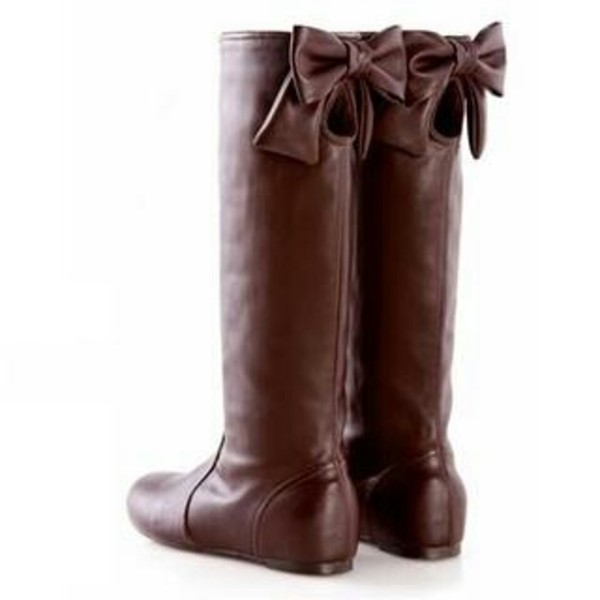 shoes brown leather bow boots