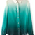 ROMWE | ROMWE Gradient Color Green Chiffon Shirt, The Latest Street Fashion