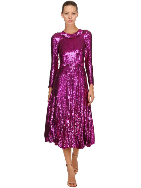 TEMPERLEY LONDON Sequined Midi Dress in fuchsia