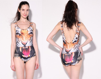 Supernova Sale SEXY Womens European Skinny Tiger Swimsuit One Piece Digital Print Backless Wetsuit Free Shipping S125 9-in One Pieces from Apparel & Accessories on Aliexpress.com