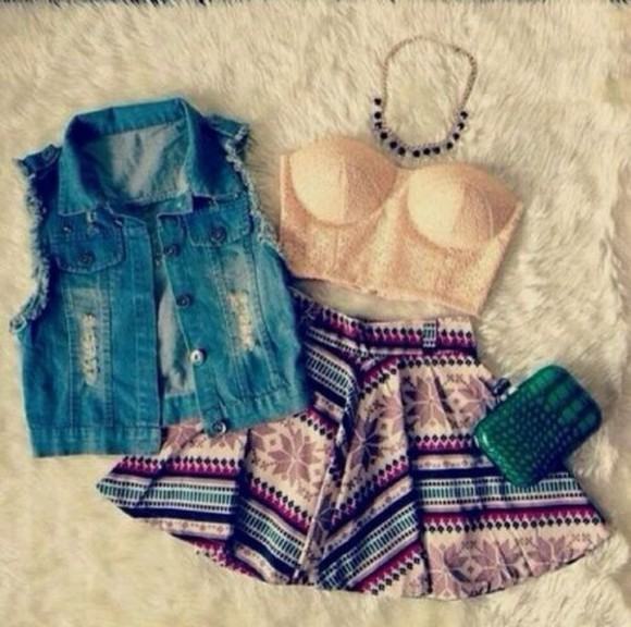 skirt colourful aztec jacket tank top blouse tumblr skater skirt bustiers