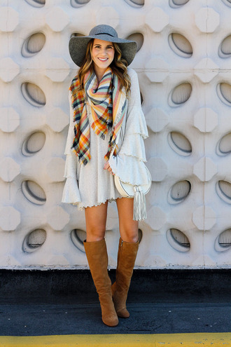 twenties girl style blogger dress scarf hat shoes bag fall outfits boots knee high boots felt hat shoulder bag bell sleeves
