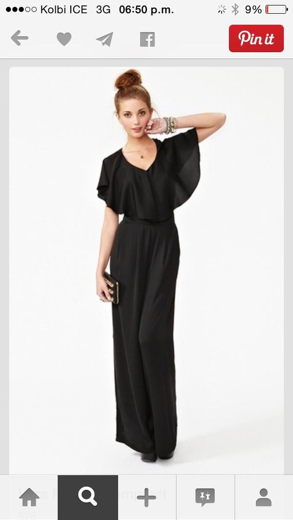 Black frill maxi dress