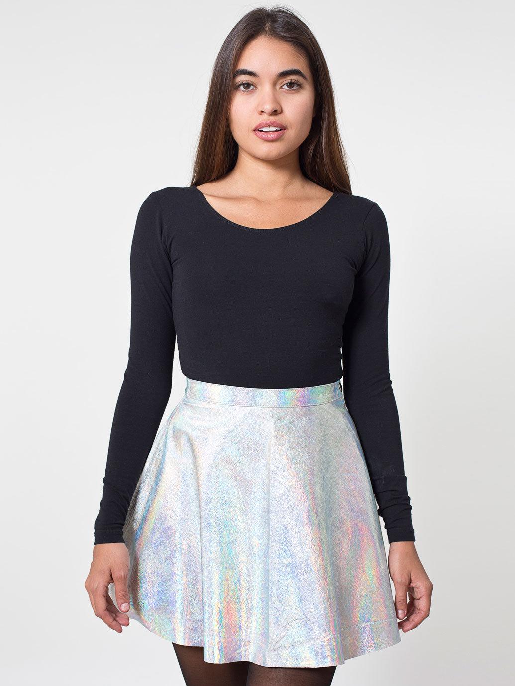 Hologram leather circle skirt