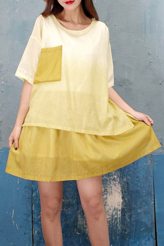 dress yellow summer fashion style trendy spring pockets dezzal
