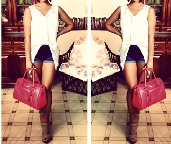 shoes tan heels white shirt white tank