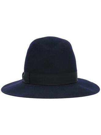 women hat fedora blue wool