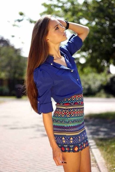 blue blouse skirt quarter sleeve blouse, aztec print skirt, pencil skirt, high waist skirt
