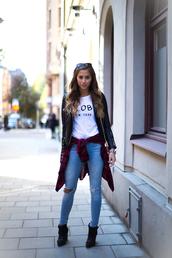 kenza,t-shirt,shirt,bag,jewels,shoes,jacket,red long sleeve plaid shirt,pants,denim,ripped jeans,leather jacket,flannel shirt