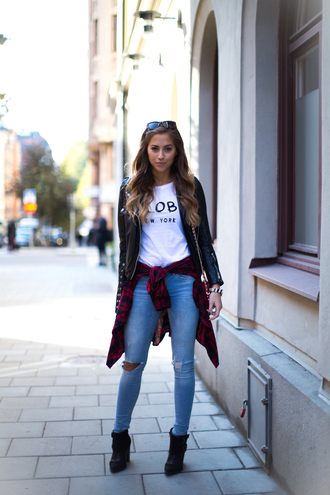 kenza t-shirt shirt bag jewels shoes jacket red long sleeve plaid shirt pants denim ripped jeans leather jacket flannel shirt